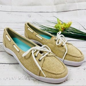 NEW Keds Tan & Metallic Gold Charter Boat Shoes